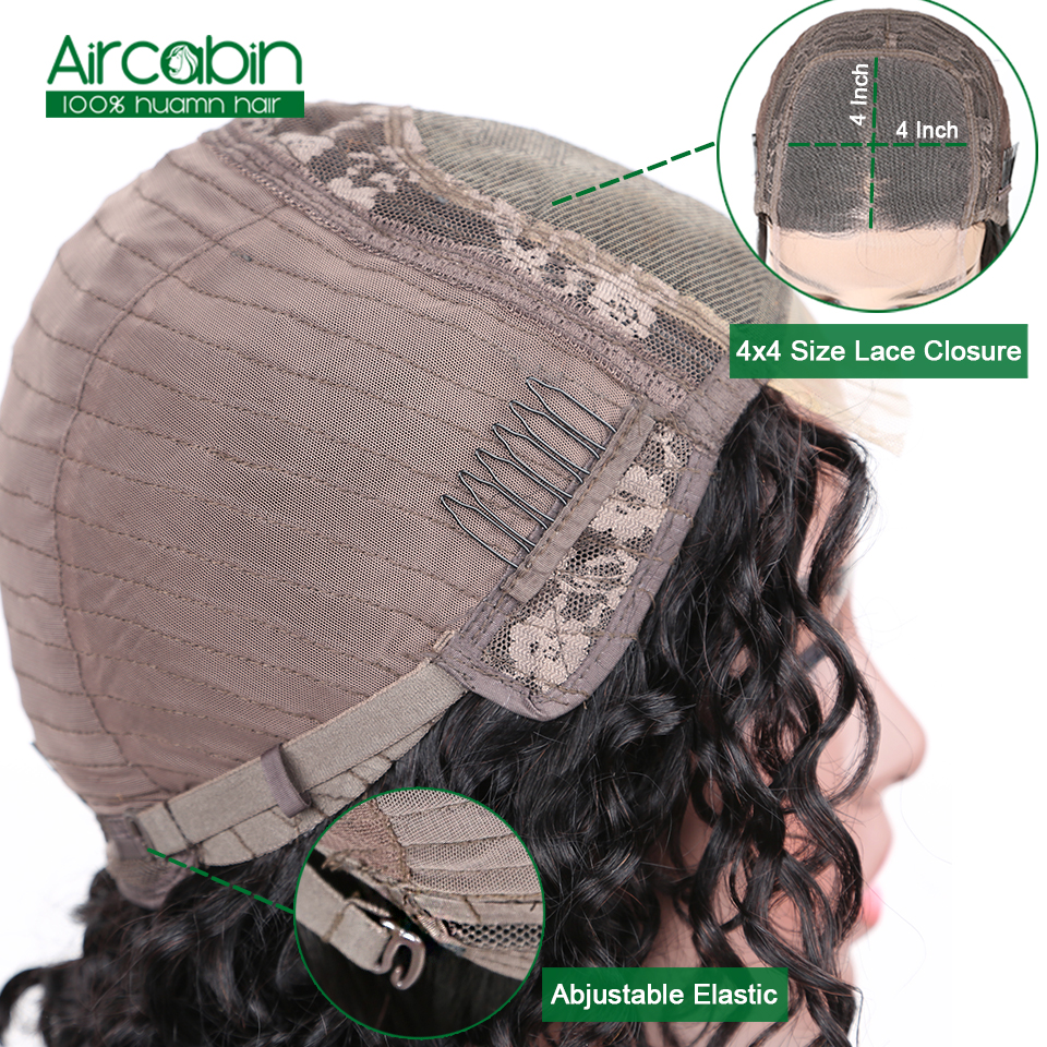Aircabin Water Wave 4x4 Bob Lace Closure Wigs 180 Density Peruvian Wig Deep Curly Human Hair Wigs For Black Women Remy Hair in Lace Front Wigs from Hair Extensions Wigs