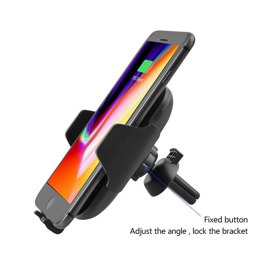Image 5 - 10W Qi Car Wireless Charger For iPhone Xs X Samsung S10 S9 Xiaomi Mi Automatic Clamping Fast Wireless Charging Car Phone HolderCar Chargers   -