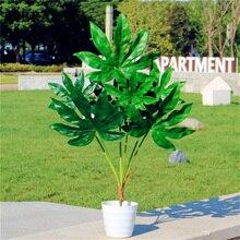 80cm 7 forquilha grande árvore tropical artificial falso planta de plástico ramo grande verde palmeira monstera folhagem para decoração de casa outono