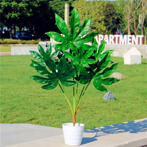 Image 1 - 80cm 7fork Large Artificial Tropical Tree Fake Plastic Plant Branch Big Green Palm Tree Monstera Foliage for Autumn Home Decor