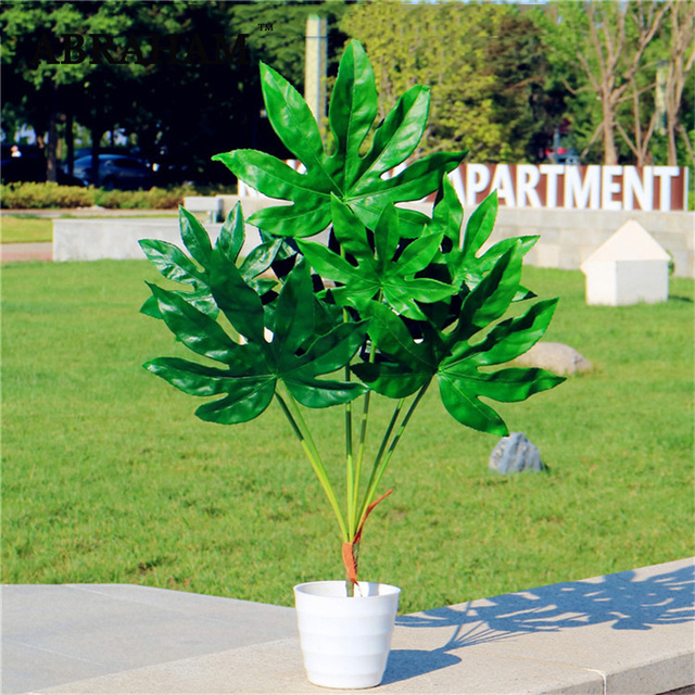 80cm 7fork Large Artificial Tropical Tree Fake Plastic Plant Branch Big Green Palm Tree Monstera Foliage for Autumn Home Decor