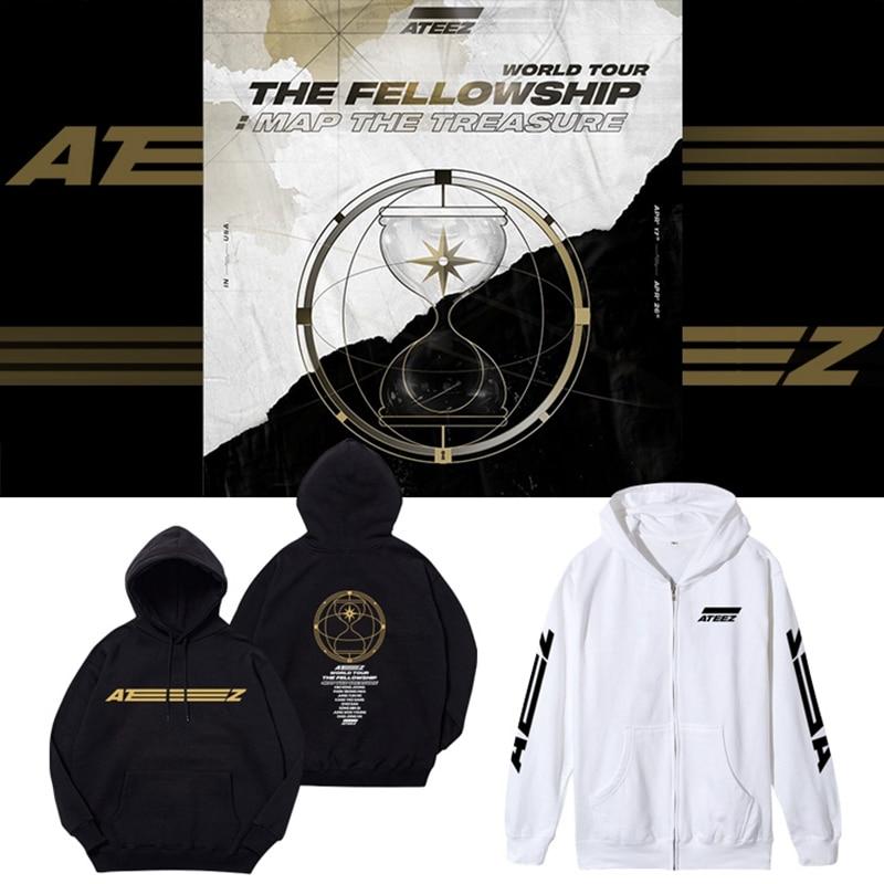 ATEEZ Album Hoodie Sweatshirt The Fellowship Map The Treasur Kpop Women Men Print Hooded Sweatshirts Casual Top Jacket