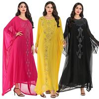 Abaya Kaftan Ethnic Women Muslim Bat Sleeve Maxi Dress Casual Loose Chiffon Farasha Oversized Middle East Dresses Lady Robe New