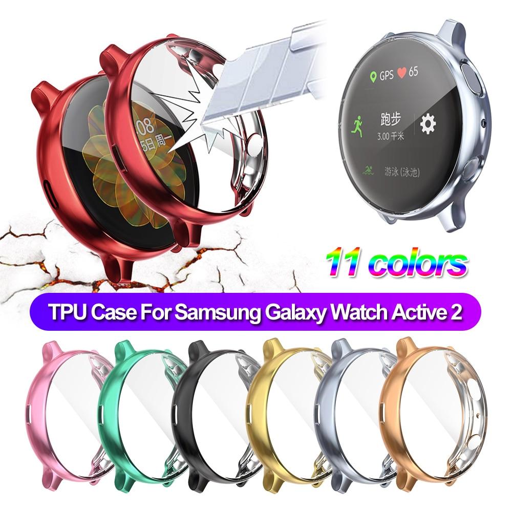 1 шт. тонкий спортивный гальванический защитный экран из мягкого ТПУ с полным покрытием чехол для часов Samsung Galaxy Watch Active 2 40 44 мм