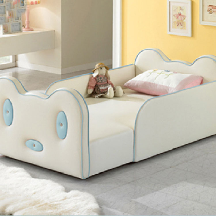 Children's Leather Bed Soft Bed Boy And Girl Cartoon Crib Guardrail Stitching Large Bed Bedside Bed Extra Bed
