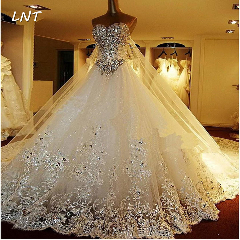 Luxury Crystaled Sparkle Wedding Dresses With Detachable Back Train Bridal Dresses Plus Size