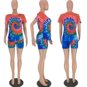 Image 4 - HAOYUAN Tie Dye Two Piece Set Women Plus Size Tracksuit Festival Clothing Top Biker Shorts 2 Piece Outfits Short Matching Sets