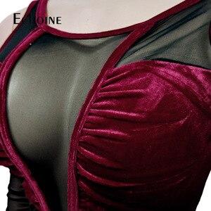 Image 5 - Seksi Mesh şeffaf Splice kadife 2 parça set kadın gece kulübü parti uzun kollu iki parçalı set üst ve pantolon kıyafetler kadife eşofman