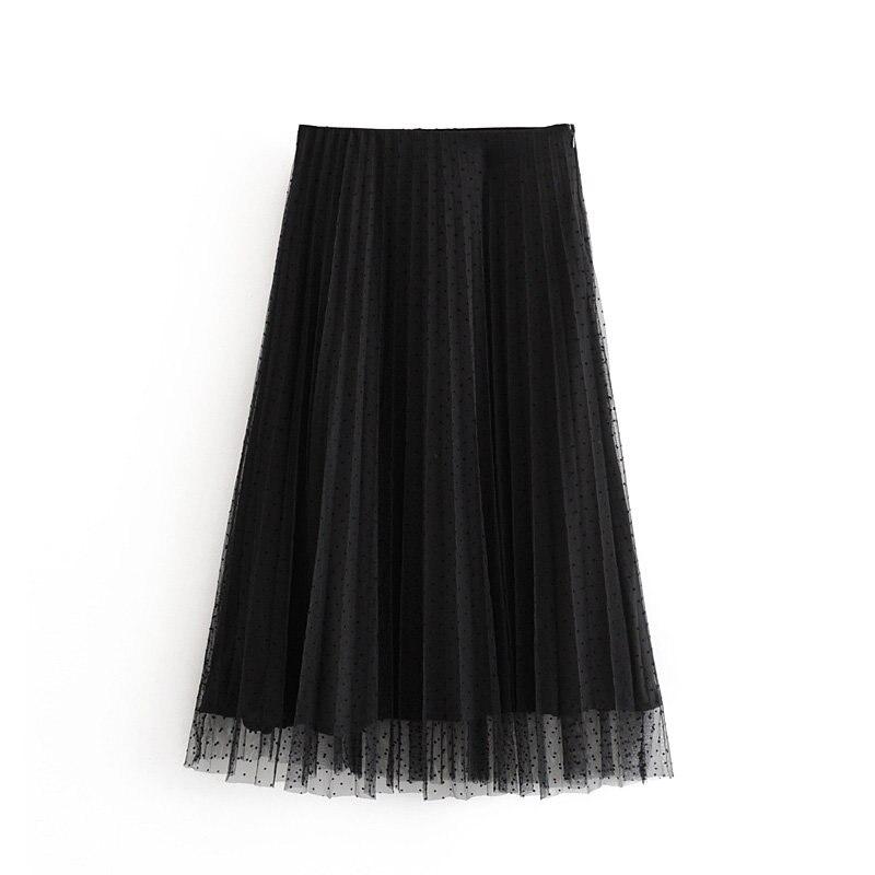 2019 Women Fashion Dot Pattern Pleated Mesh Midi Skirt Ladies Side Zipper Vestidos Elegant Casual Chic Skirt QUN467