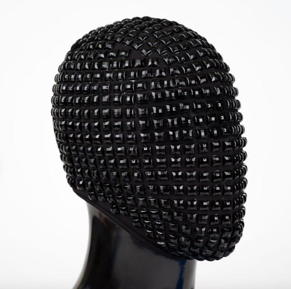 Black Silver Crystals Rivet Mask Headgear Nightclub Bar Male Singer Dancer Performance Ornament DJ Dance Show Accessories