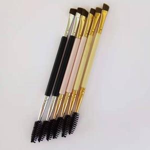 Image 3 - AMSIC 2 шт. Кисть для макияжа ручка для бровей двойной инструмент бамбуковая Косметическая кисть + гребень для бровей двойной