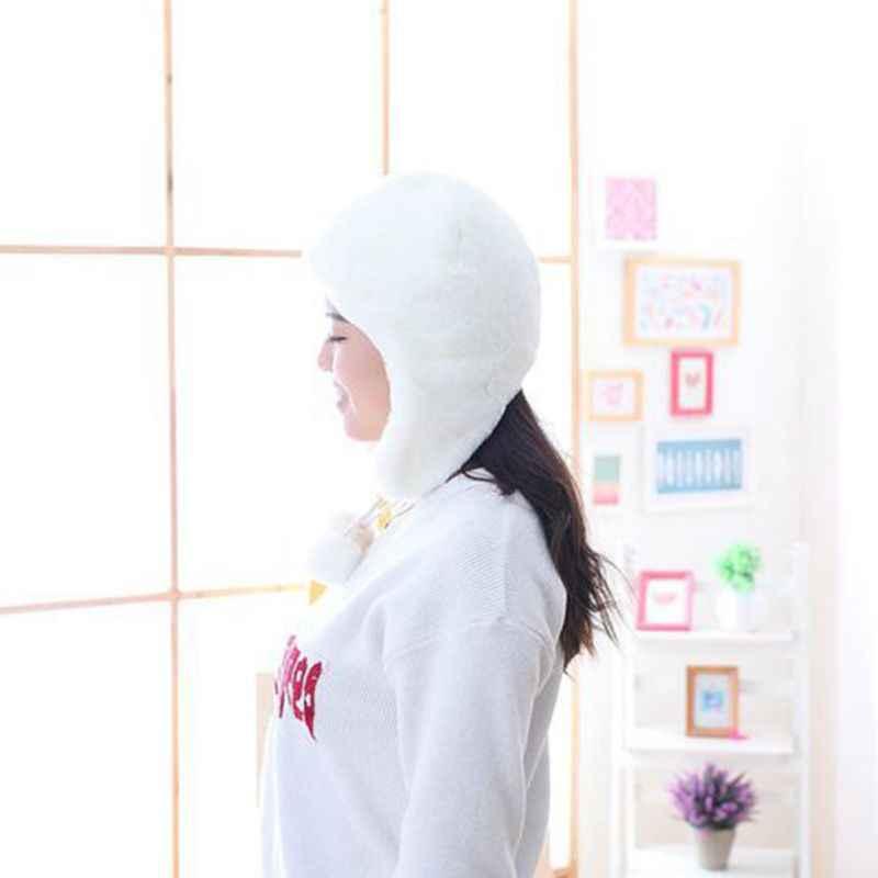 Femmes hiver épaissir peluche oreillette chapeau blanc couleur unie mignon pompon glands capuche bonnets trappeur casquette en plein air Ski oreille plus chaud