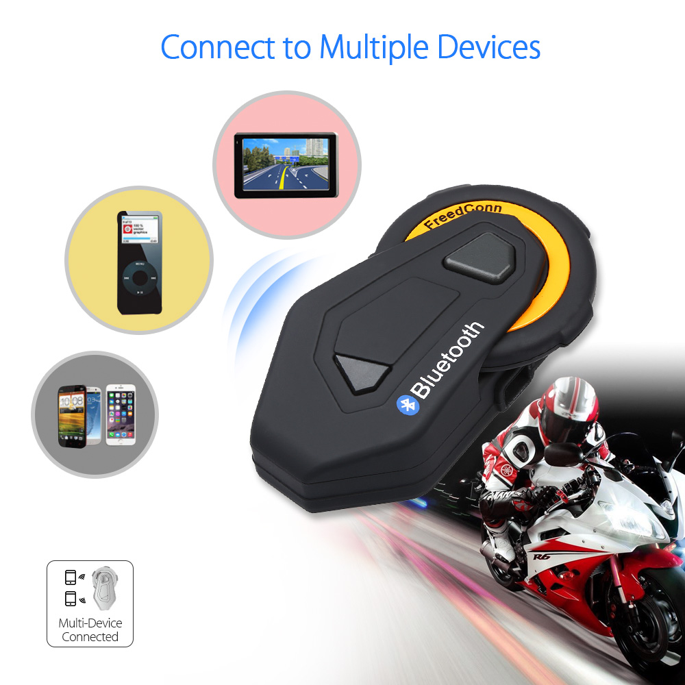 FreedConn T-MAX Motorcycle Headset Waterproof Interphone 6 Riders Moto Bluetooth Helmet Intercom Headset Group Intercom FM MP3