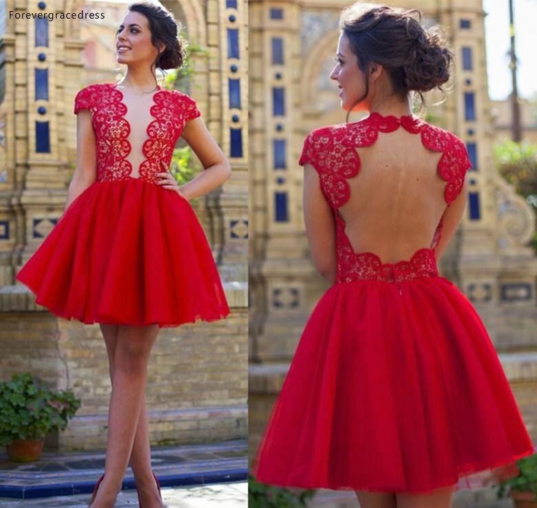 2019 Cheap Cap Sleeves Red Lace Mini Short Cocktail Dress A Line Juniors Sweet 15 Graduation Party Dress Plus Size