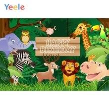 Yeele Baby Birthday Backdrop Animals Zoo Elephant Jungle Customized Photocall Vinyl Photography Background For Photo Studio funnytree photography background tropical jungle animals birthday dessert table decor backdrop photocall photo studio printed