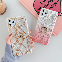 For IPhone 11 Pro Max Plated Line Leaf Rose Floral Ring Holder Phone Case for Iphone 11 Case Soft IMD Phone Back Cover leaf print iphone case