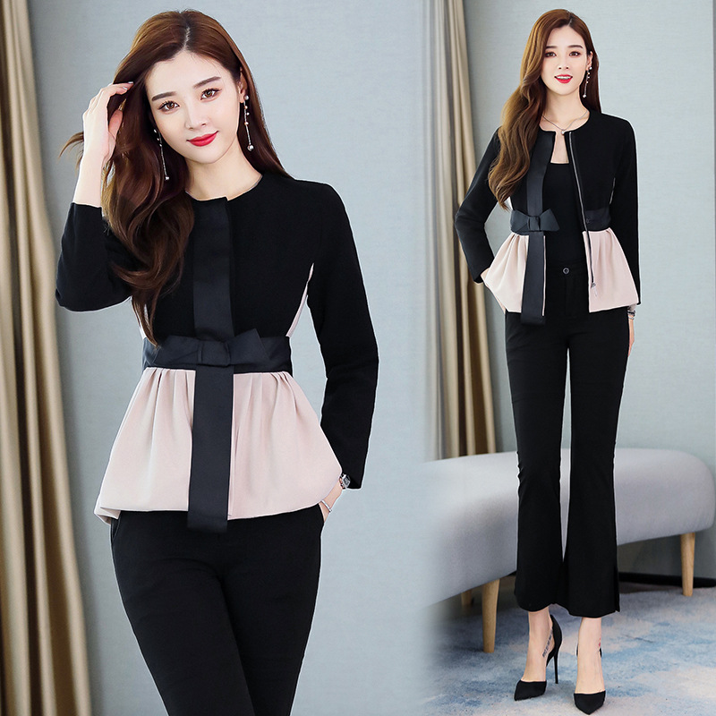 2020 Early Spring New Style Two-Piece Set Short-height High-Style WOMEN'S Suit Slim Fit Boot-Cut Capri Pants INS Coat