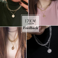 17KM Vintage Multi-layer Coin Chain Choker Necklace For Women Gold Silver Color Fashion Portrait Chunky Chain Necklaces Jewelry 6