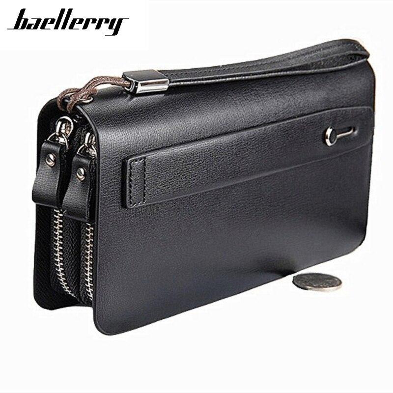 Baellerry Men Wallet Double Zipper Leather Wallet New Luxury Brand Business Male Clutch Bag Long Coin Purse Phone Pocket Wallets