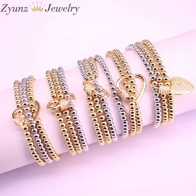 5PCS, CZ micro pave connector clasp with round copper beads chain bracelets