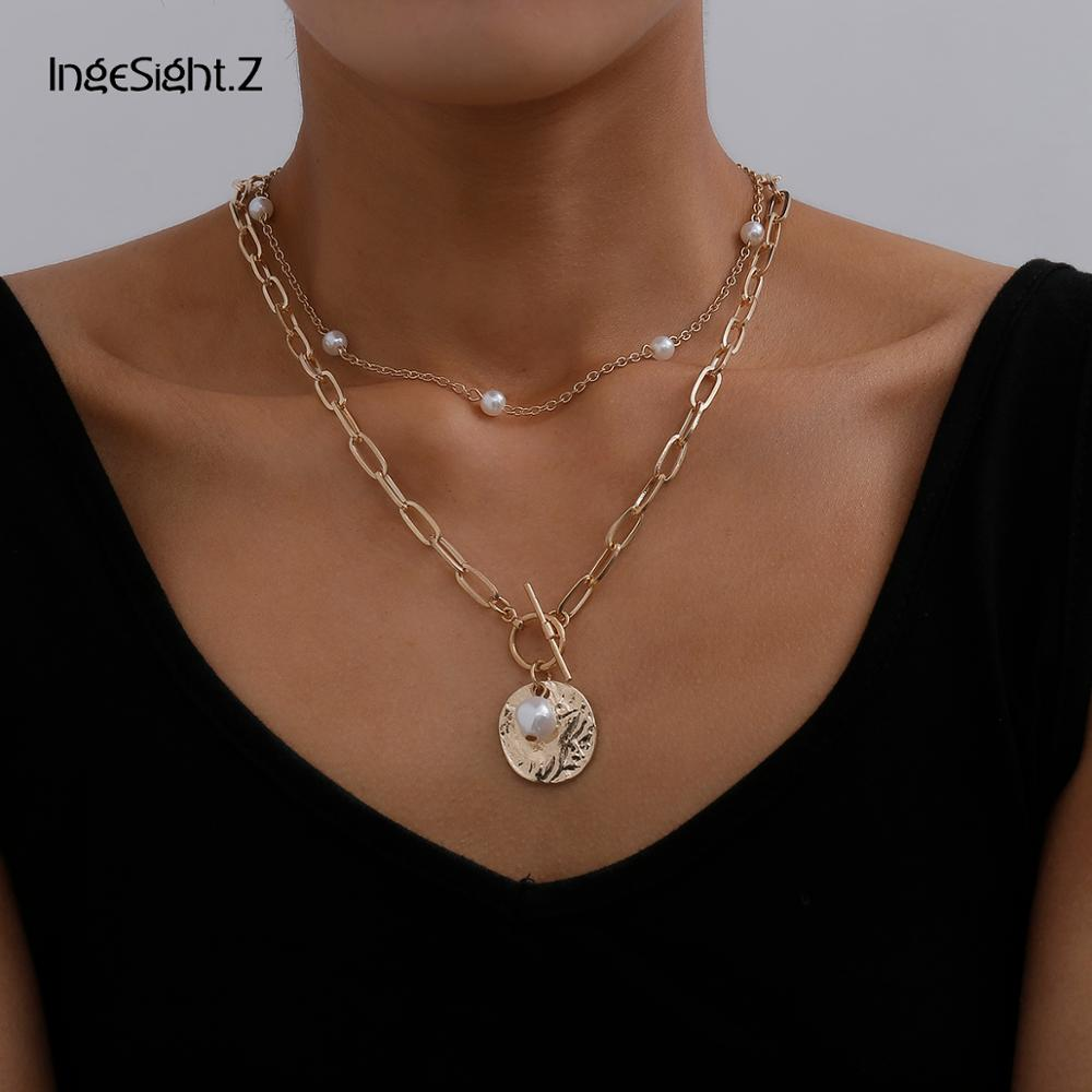 IngeSight.Z 2Pcs/Set Multi Layered Boho Imitation Pearl Choker Necklace Collar Punk Carved Coin Lasso Pendant Necklaces Jewelry