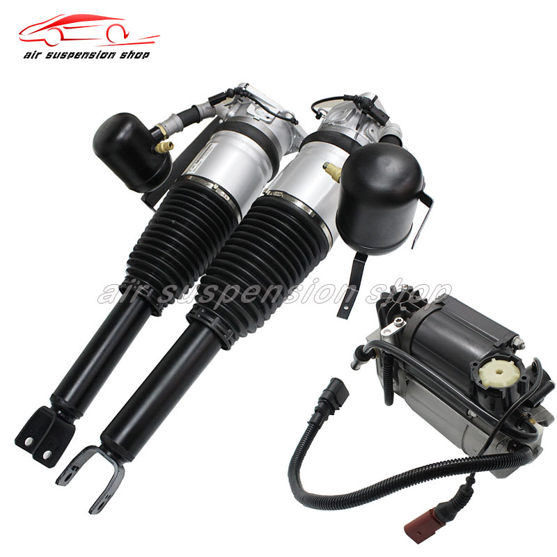 pair for Audi <font><b>A8</b></font> <font><b>D3</b></font> 4E Rear Air Shock Strut Assembly Air Suspension Spring Damper w/ Air Compressor Pump 4E0616001G 4E0616002G image
