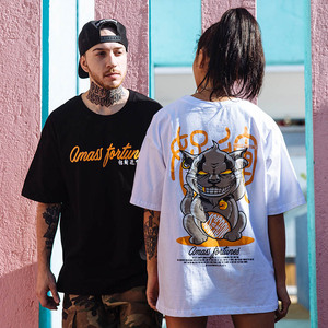 Image 5 - 2019 Hip Hop T Shirt Funny Evil Furtune Cat Print T shirts Men Harajuku Streetwear Summer Tshirt Cotton Short Sleeve Tops Tees