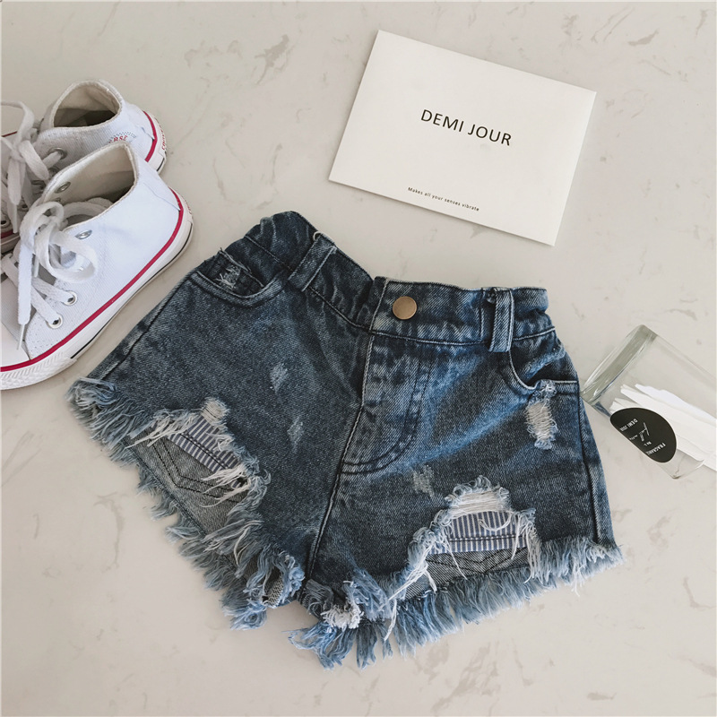 Spring and summer new children's Denim Shorts girl's fashionable high waist hot pants small and medium children's jeans