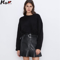 Huapate2020 new PU bag hip skirt fashion slim wild lady black leather skirt with belt mini skirt artificial leather skirt
