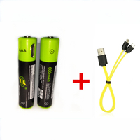2PCS ZNTER 1.5V AAA 600mAh rechargeable lithium battery USB lithium polymer rechargeable battery+2 in 1 Micro USB charging cable