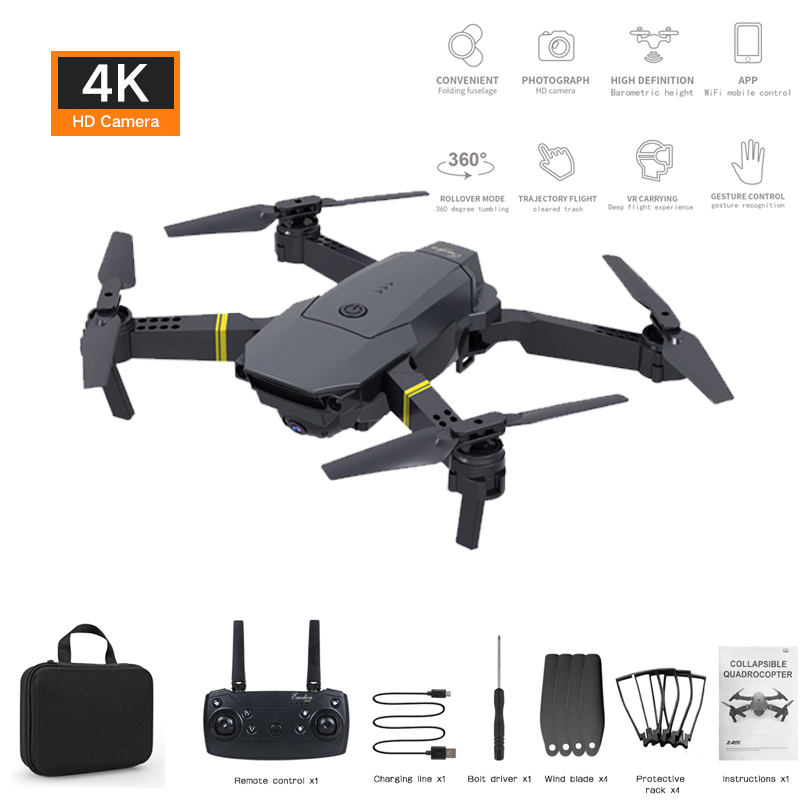 E58 WiFi FPV Four Axis Drone 4K 1080P 720P HD Wide Angle Camera Live Video Photo Foldable Remote Control Helicopter Children Toy
