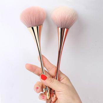 Duże różowe złoto fundacja Powder pędzel do różu profesjonalne narzędzie pędzel do makijażu zestaw kosmetyczny bardzo miękki duży rozmiar makijaż twarzy Brushe tanie i dobre opinie BLUEFRAG Powder Blush Brush NYLON Włosy syntetyczne Włókna wełny 1pc Rose Gold Foundation Brush Metal