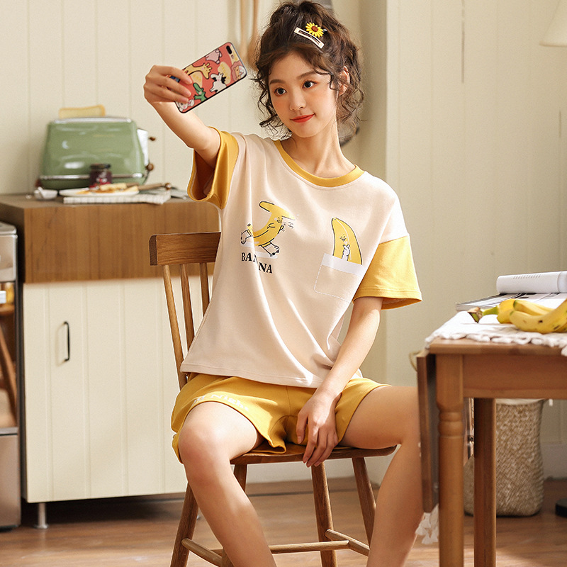 912 # Banana Finger Emblem Pullover JZ Short Sleeve Shorts Pajamas Homewear Set Series