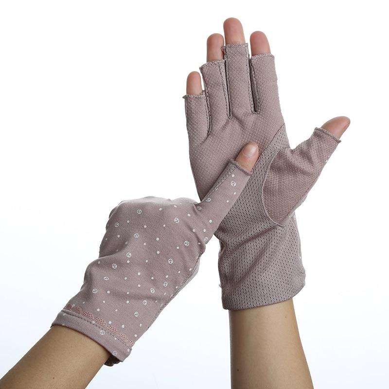 Women Half Fingers Gloves Summer Stretch Thin Semi-Finger Driving Gloves Anti-Slip Sunscreen Anti-UV Fingerless Glove Mittens