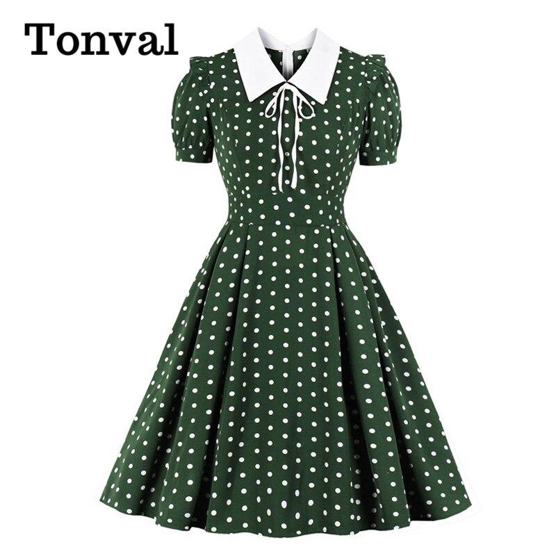 Tonval Turn-down Collar Tie Front Polka Dot Vintage Robe Women Green 50s Pin Up Dress Short Sleeve Elegant Summer Pleated Dress