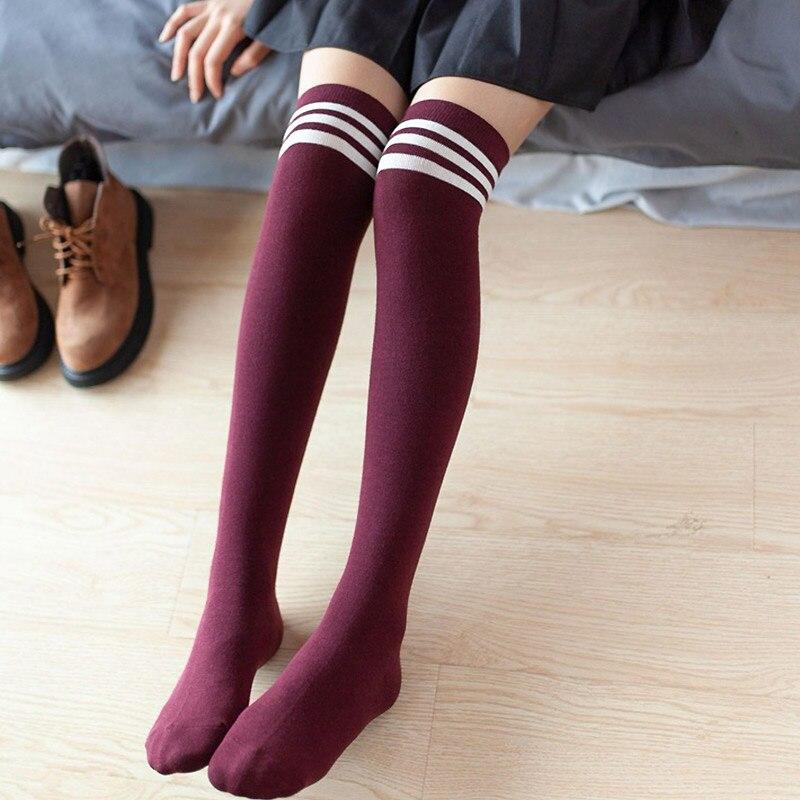 Women High Over The Knee Socks Thigh High Stockings Harajuku  Japanese School Student Stripe Long Sock For Girls Ladies Women