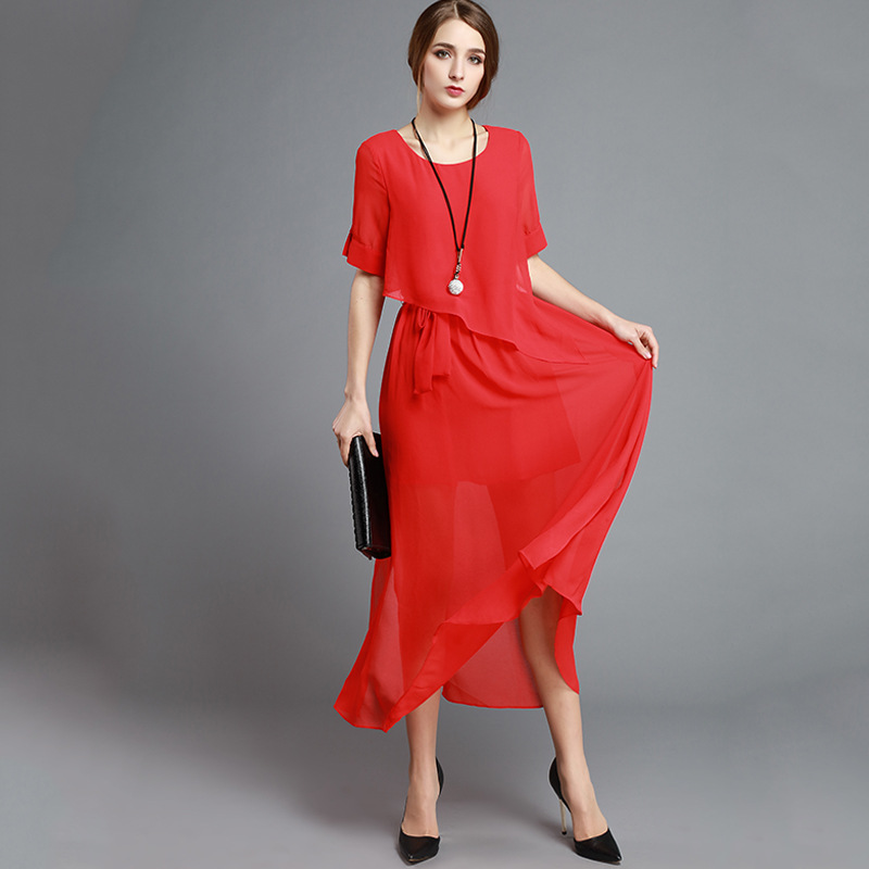 Shenzhen Boutique Women's Dress 2019 Summer Ozhouzhan New Style Elegant Crew Neck Short Sleeve Solid Color Slit Dress Women's