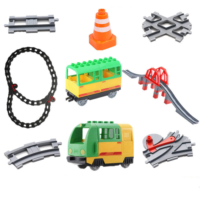 Big Size Diy Building Blocks Train Track Accessories Curved Bridge Compatible With Duploed Educational Toys For Children Gifts