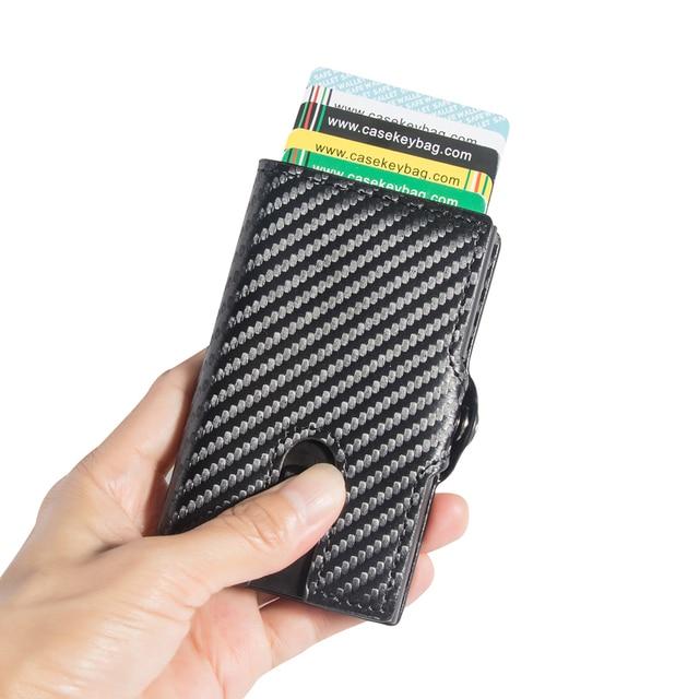 Casekey Carbon Fiber Leatherest credit metal slim bank id card holder wallet zipper man coins purse  RFID blocking pop up case