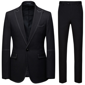Image 2 - גברים חליפות 2 Piece סטי מעצבי אחת אבזם חתן חתונה שמלת Slim Fit פורמליות משרדים קלאסי לנשף חליפת מעיל מכנסיים