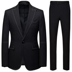 Image 2 - Men Suits 2 Piece Sets Designers Single buckle Groom Wedding Dress Slim Fit Formal Offices Classic Prom Suit Jacket Trousers