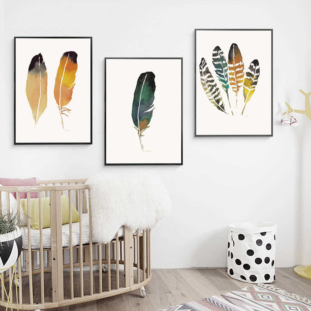 Nordic Abstract Art Poster Prints Colored Feathers Paintings Modern Minimalism Canvas Wall Pictures Living Room Bedroom Decor