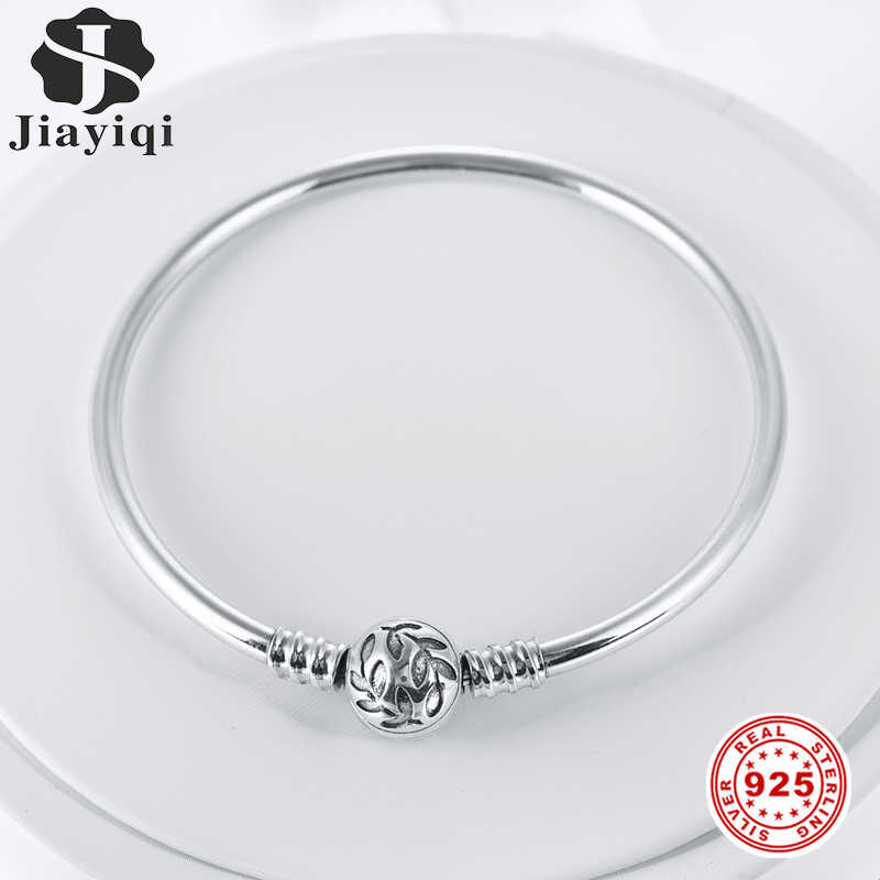 Jiayiqi Silver Bangle 925 Sterling Silver Olive Leaf Round Smooth Tube Bracelets For Women Fit Brand DIY Jewelry 17 18 19 20cm