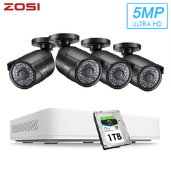 Камера видеонаблюдения ZOSI, 4-канальная HD-камера 5 Мп, 4 в 1, AHD, CVBS, CVI, TVI, с функцией ночного видения