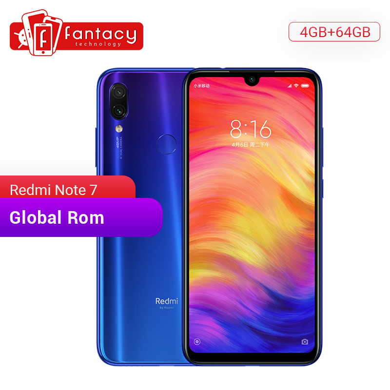 Global Rom Xiaomi Redmi Note 7 4GB 64GB Snapdragon 660 Octa Core 48MP Camera 6.3'' Water Drop FHD Screen Mobile Phone QC 4.0