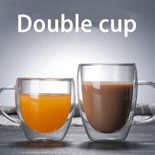 Прозрачная стеклянная чашка для кофе, молока, виски, чая, пива, двойная креативная термостойкая для здоровья и защиты окружающей среды