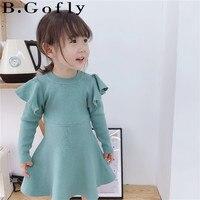 Autumn Winter Toddler Clothing Clothes Children Toddler Knit Dresses Long Sleeve Dress Tops Kids Girl T Shirt Dress Girls
