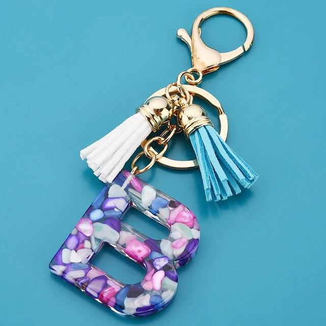 Купить новый модный простой акриловый брелок с 26 буквами цветной кисточкой картинки цена