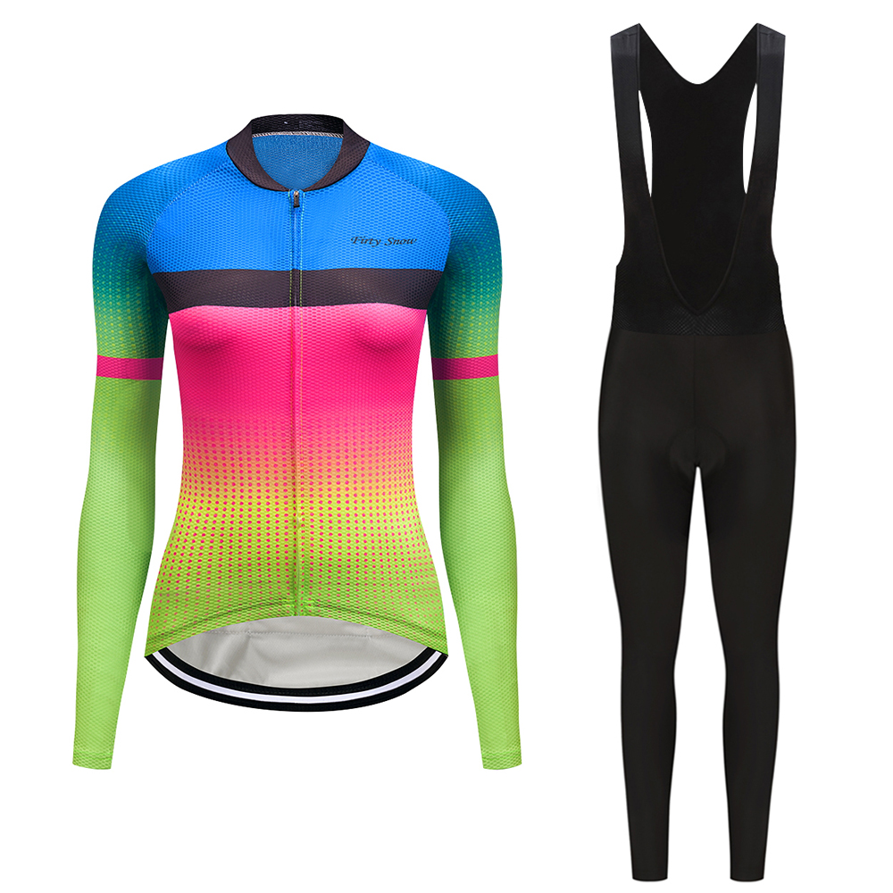 Gel pad pants cycling clothing set 2019 Autumn women's bicycle  jersey set maillot mtb uniform bike clothes kit dress wear suit