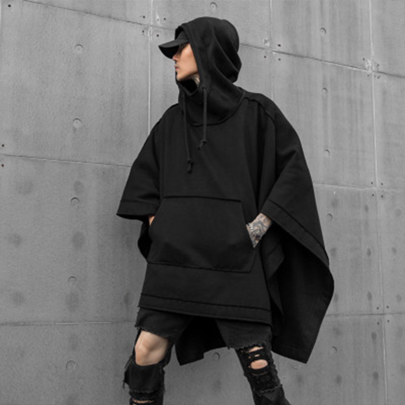 Autumn And Winter New Men's Loose Bat Cape National Tide Dark Mid-long Fashion Casual Windbreaker Hoodie Jacket